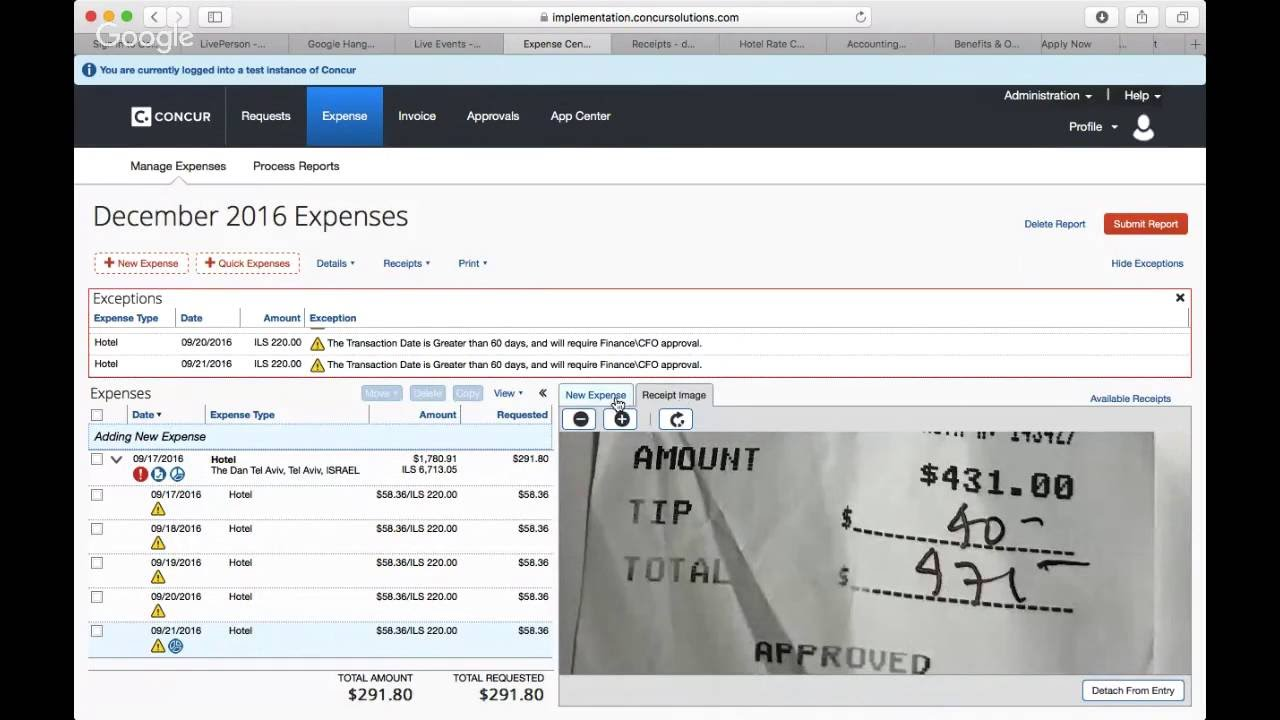 concur how to submit an expense report youtube