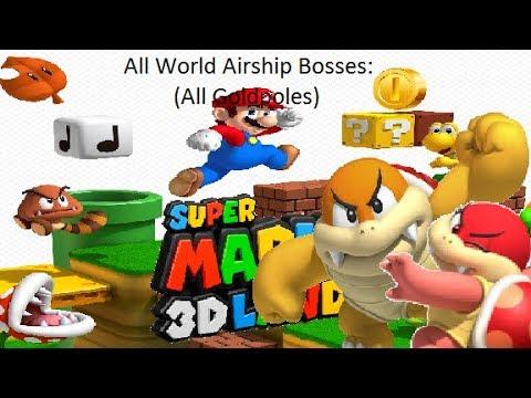 Super Mario 3D Land - All World Airship Bosses & Goldpole (Boom Boom & Pom Pom Fight)