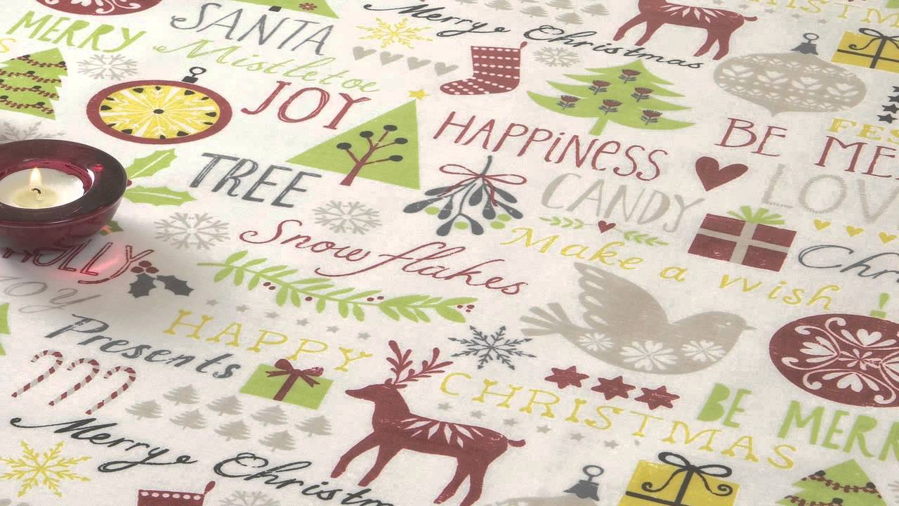 Jolee Tablecloths Cream Merry Christmas Xmas Trees Pvc Oilcloth Wipeclean Tablecloth You