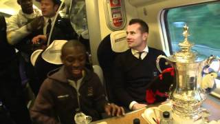 FA CUP Winners 2011 Behind the Scenes Man City travel back from Wembley with Trophy