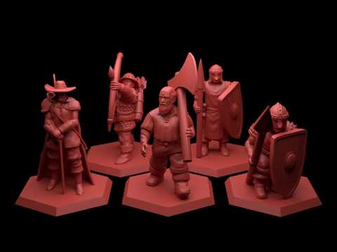 Tabletop wargaming 28 mm miniatures for 3D printing