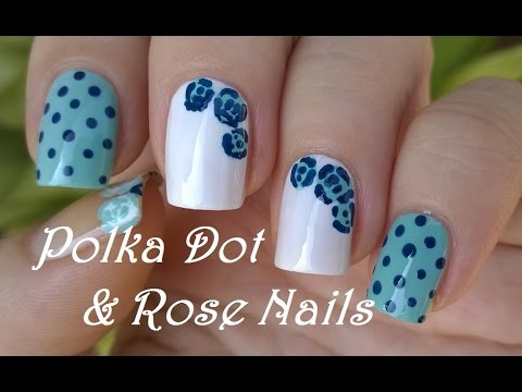 Polka Dot Easy Rose Nail Art In Blue White Diy Dotting Tool