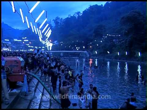 Pilgrims gather to bathe in the River pampa in Sabarimala