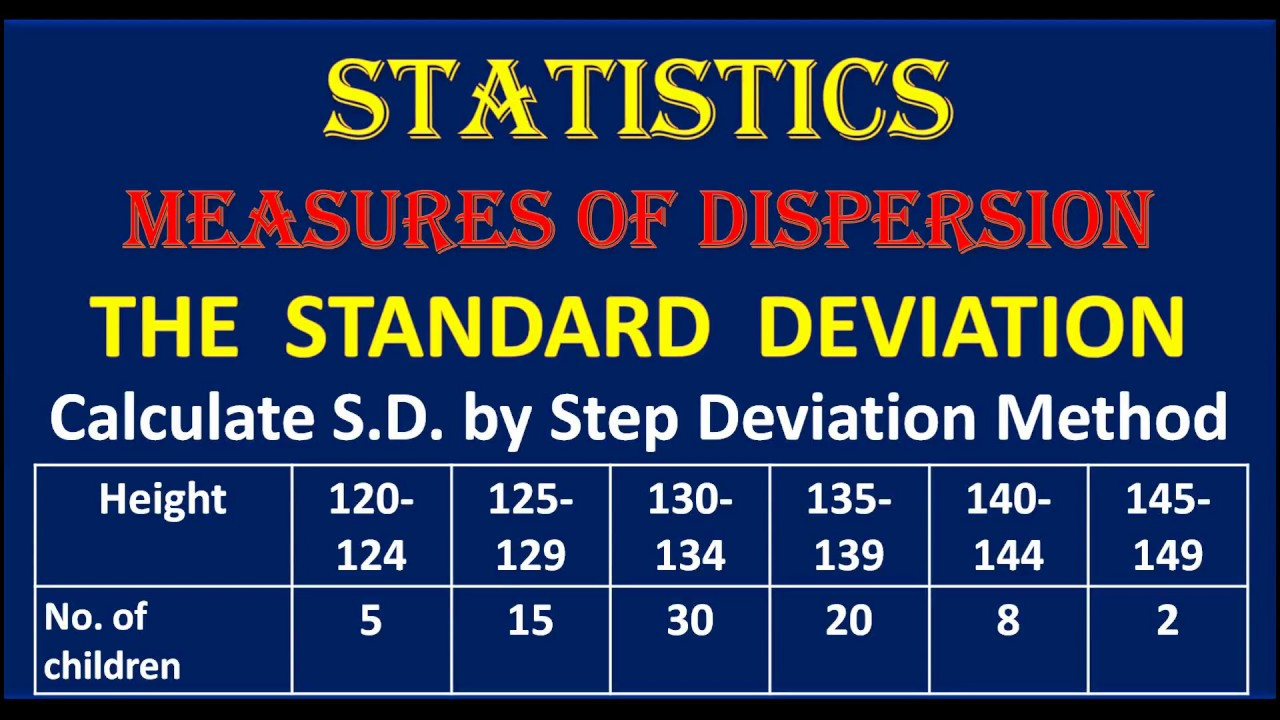Standard Deviation Calculate Sd By Step Deviation Method Of Given  Distribution