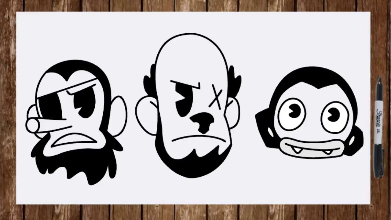How to draw Butcher Gang from Bendy and the Ink Machine ...