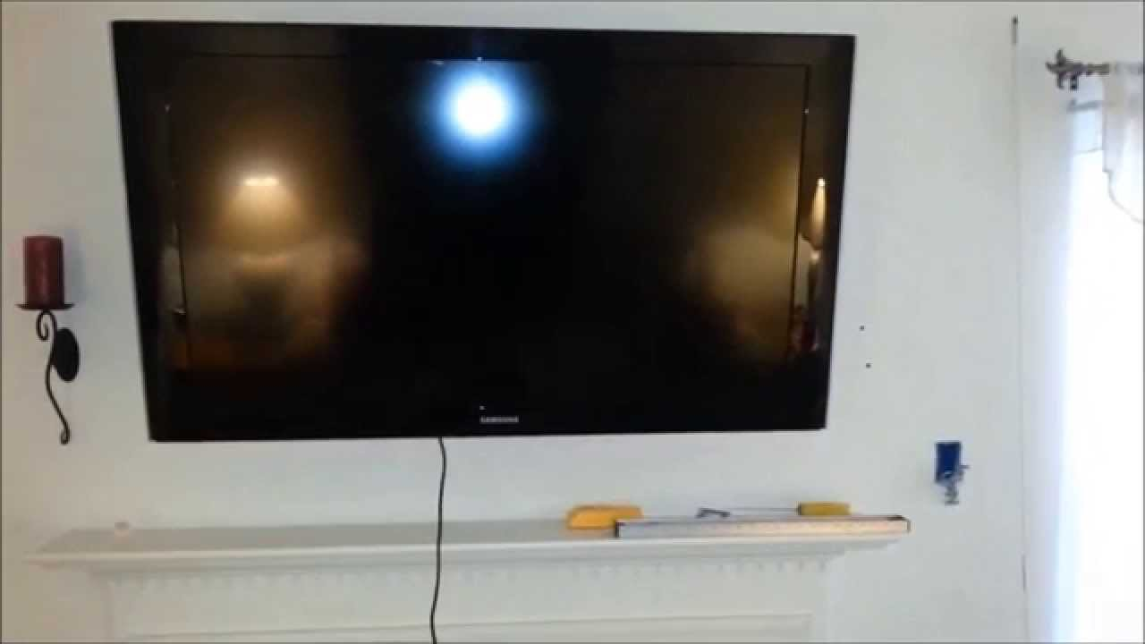 diy over fireplace flat panel lcd led plasma tv install with wire fish cable in wall run youtube [ 1280 x 720 Pixel ]