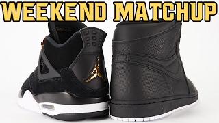 Air Jordan 4 Royalty vs Air Jordan 1 Perforated Black Weekend Matchup