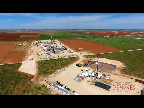 Drone view of West Texas oil field / Permian Basin