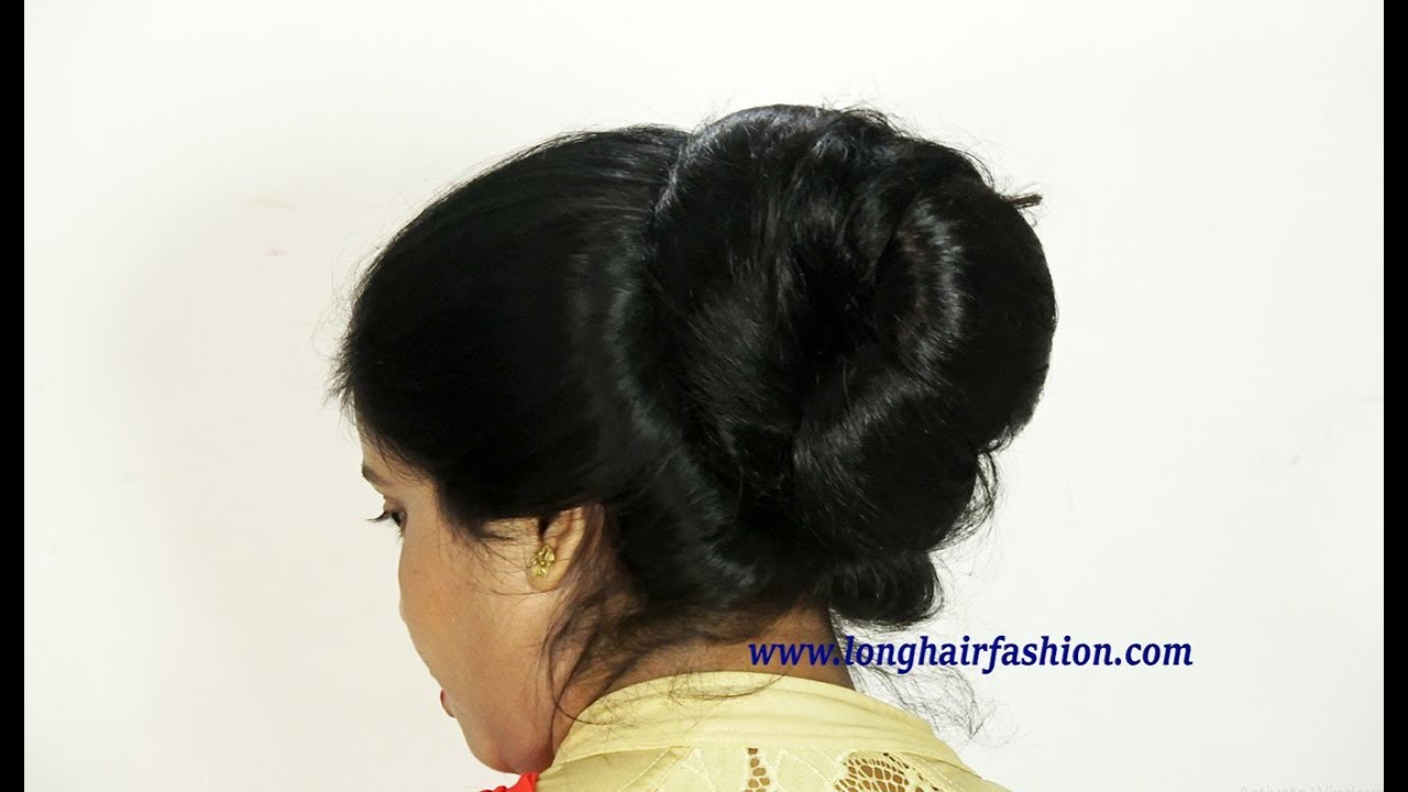 indian rapunzel silky shiny big bun making & attractive bun drop