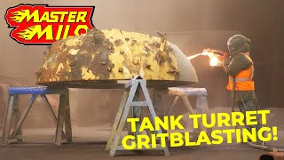 Grit blasting & painting our tank turret!