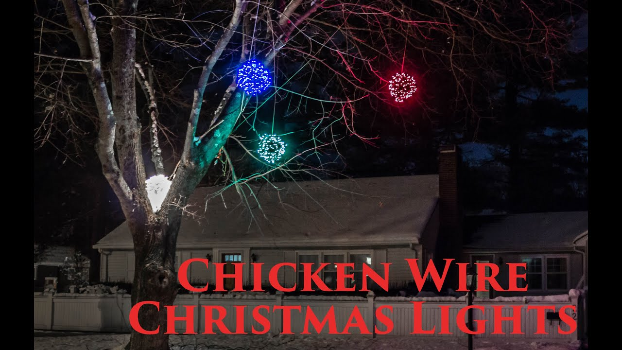 How to make lighted chicken wire christmas balls diy for Outdoor light up ornaments