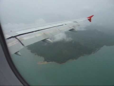 Rainy landing Phuket Airport Thailand on Mar 29, 2011