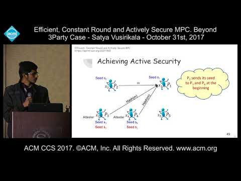 ACM CCS 2017 - Efficient, Constant Round and Actively Secure MPC [...] - Satya Vusirikala