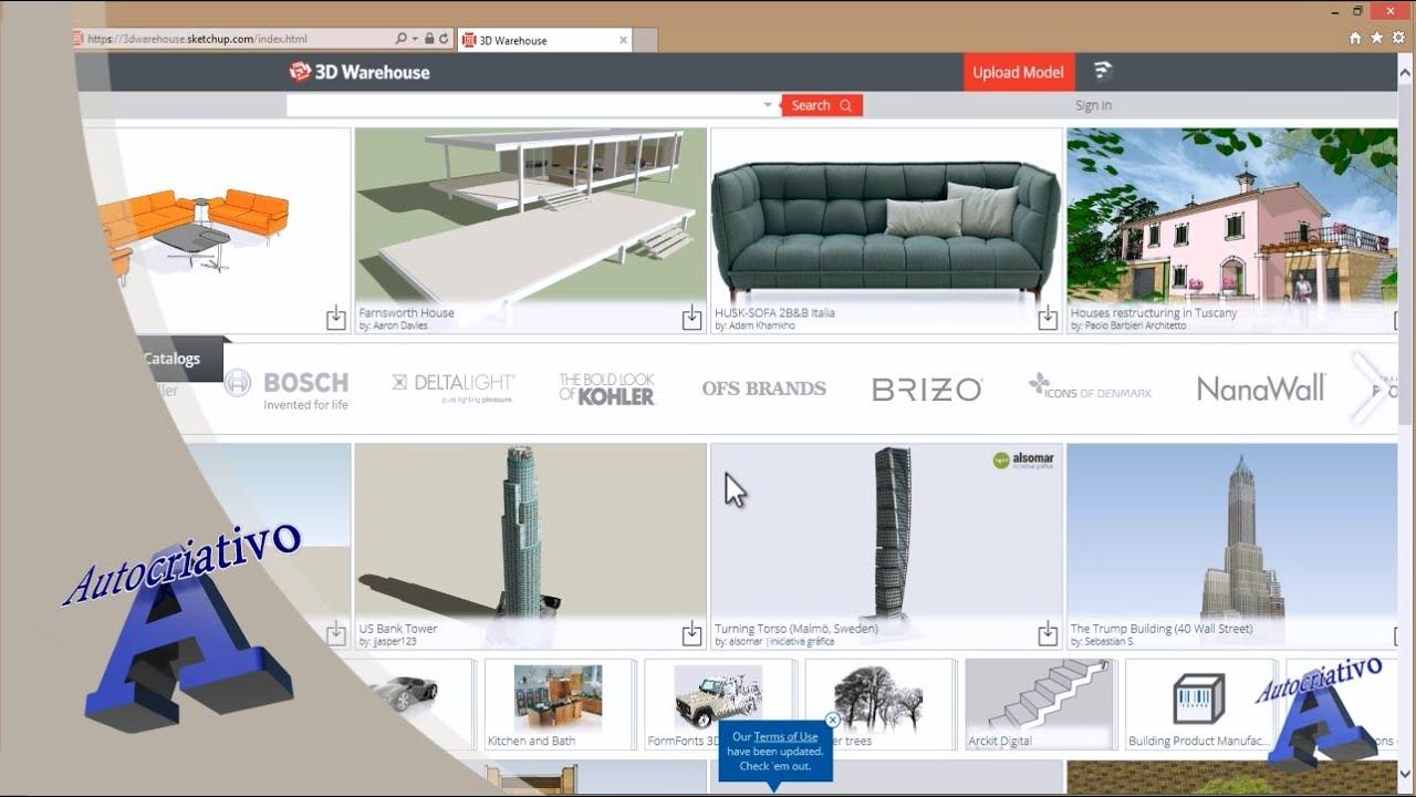 Como utilizar o 3d warehouse no sketchup 8 free for Mobilia sketchup 8