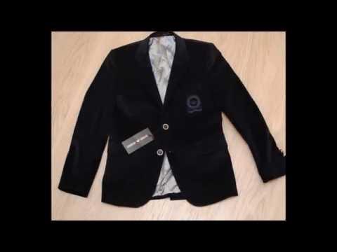 Модный стильный брендовый синий велюровый пиджак для мальчика