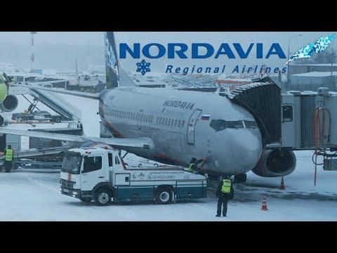 Снежный взлет | Нордавиа Boeing 737-500 | Москва - Архангельск