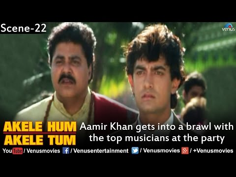 Aamir Khan gets into a brawl with the Top Musicians at the Party (Akele Hum Akele Tum)