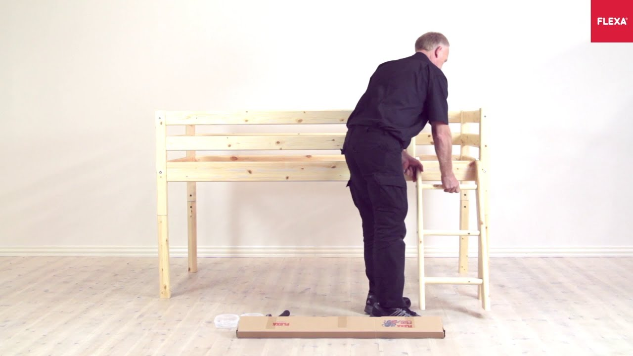 flexa classic mid high bed slanting ladder assembly instruction youtube. Black Bedroom Furniture Sets. Home Design Ideas