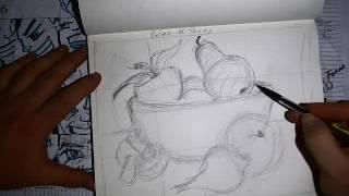 still life bowl of fruit