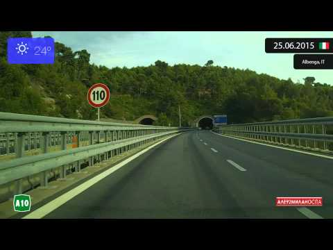 Driving from Genova (Italy) to Menton (France) 25.06.2015 Timelapse x4