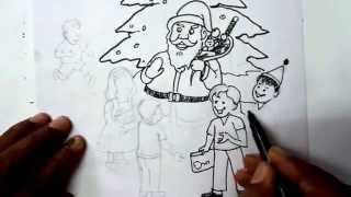 How to Draw a Santa Claus With Gifts