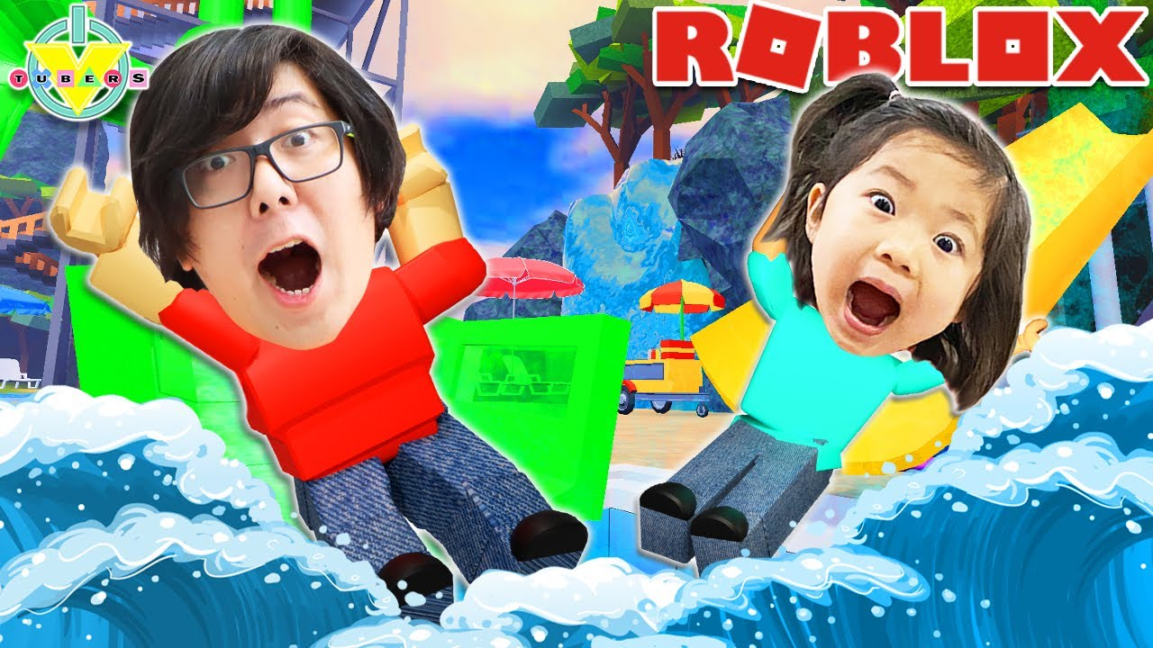 Best Waterpark on Roblox!! Let's Play with Emma and Daddy