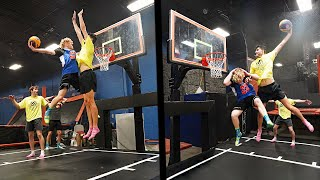 Sky Zone Made A Trampoline Basketball Court! 3v3 Basketball!