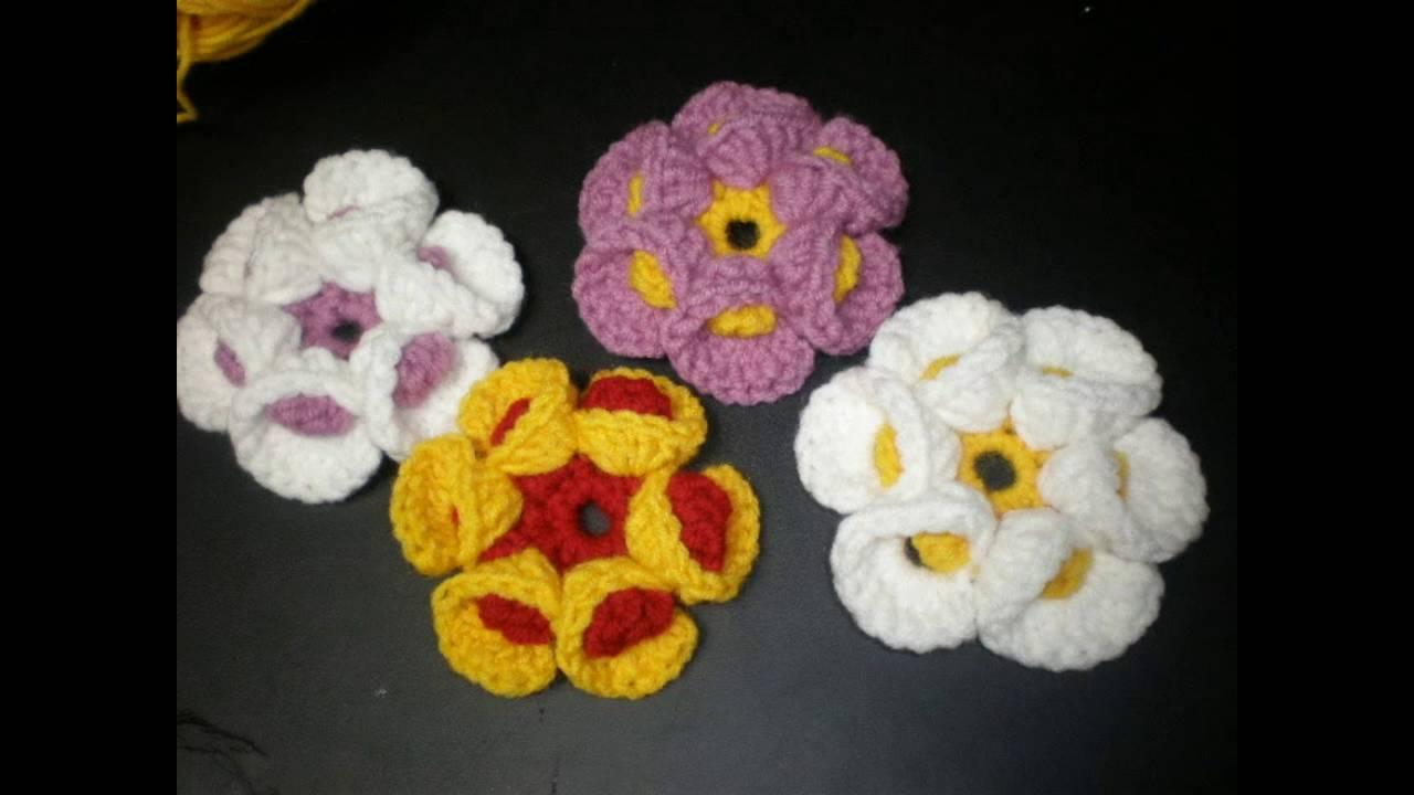 Flori Crosetate 3 D Dublu Croset Youtube