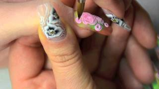 3D roses on nails, 3D nail art using acrylic, colour inspiration by Nicki Minaj Super bass Thumbnail