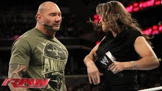 Stephanie McMahon, Batista and Randy Orton argue about WrestleMania: Raw, March 24, 2014