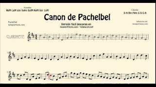 Canon de Pachelbel en D Partitura de Clarinete versión tocapartituras com