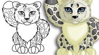 How to draw a Snow Leopard | Cute and Easy | Step By Step Drawing