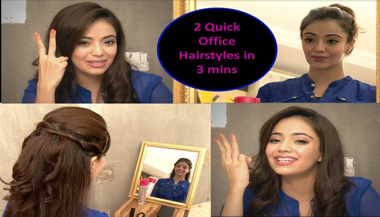 quick office hairstyles in 3 minutes (hindi)
