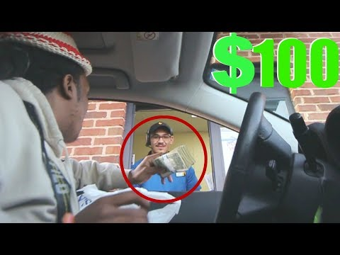 TIPPING FAST FOOD WORKERS $100 !!!!