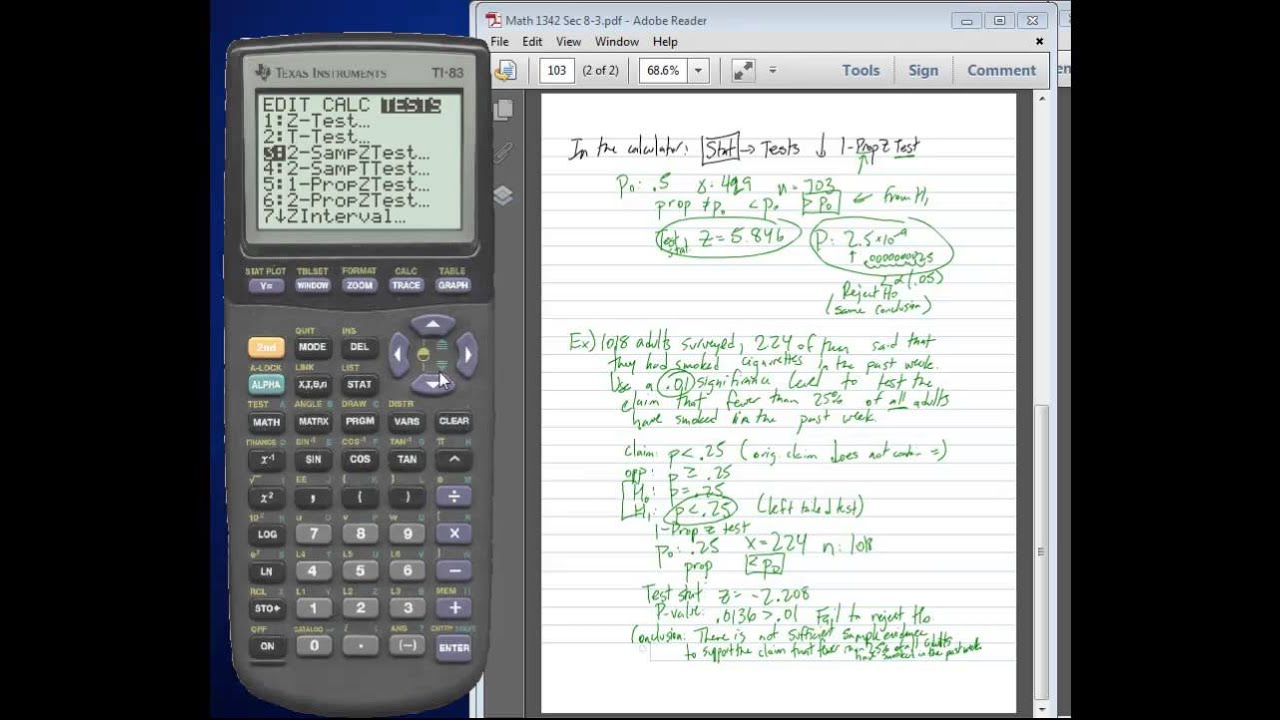 Math 1342 - Statistics: 1-PropZTest - Hypothesis Tests for ...
