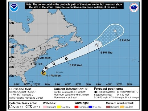 HURRICANE GERT WINDS 75 MPH MOVING NORTHWARD & STRENGTHENING, TROPICAL WAVES IN THE ATLANTIC