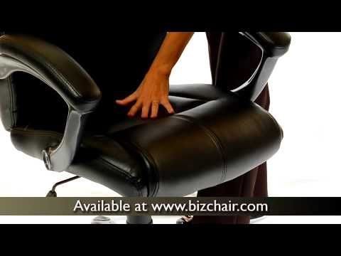 Black Leather Overstuffed Executive Office Chair (GO 724M MID BK LEA GG)    YouTube