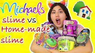 MICHAELS SLIME VS HOME-MADE SLIME | store bought or homemade slime | Slimeatory #197