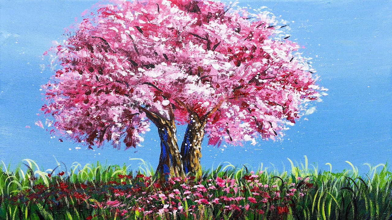 Cherry Blossom Tree | How to Paint Cherry Blossom Tree | How to paint a Tree in Acrylic step by step