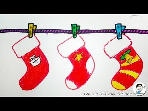 Drawing Christmas Socks Gift Very Easy Menggambar Kaos Kaki Natal