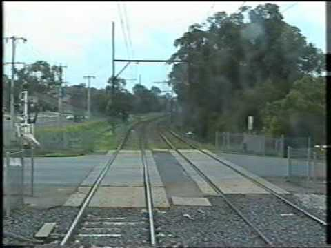 Drivers view - Hitachi train approaching. (Hurstbridge line).
