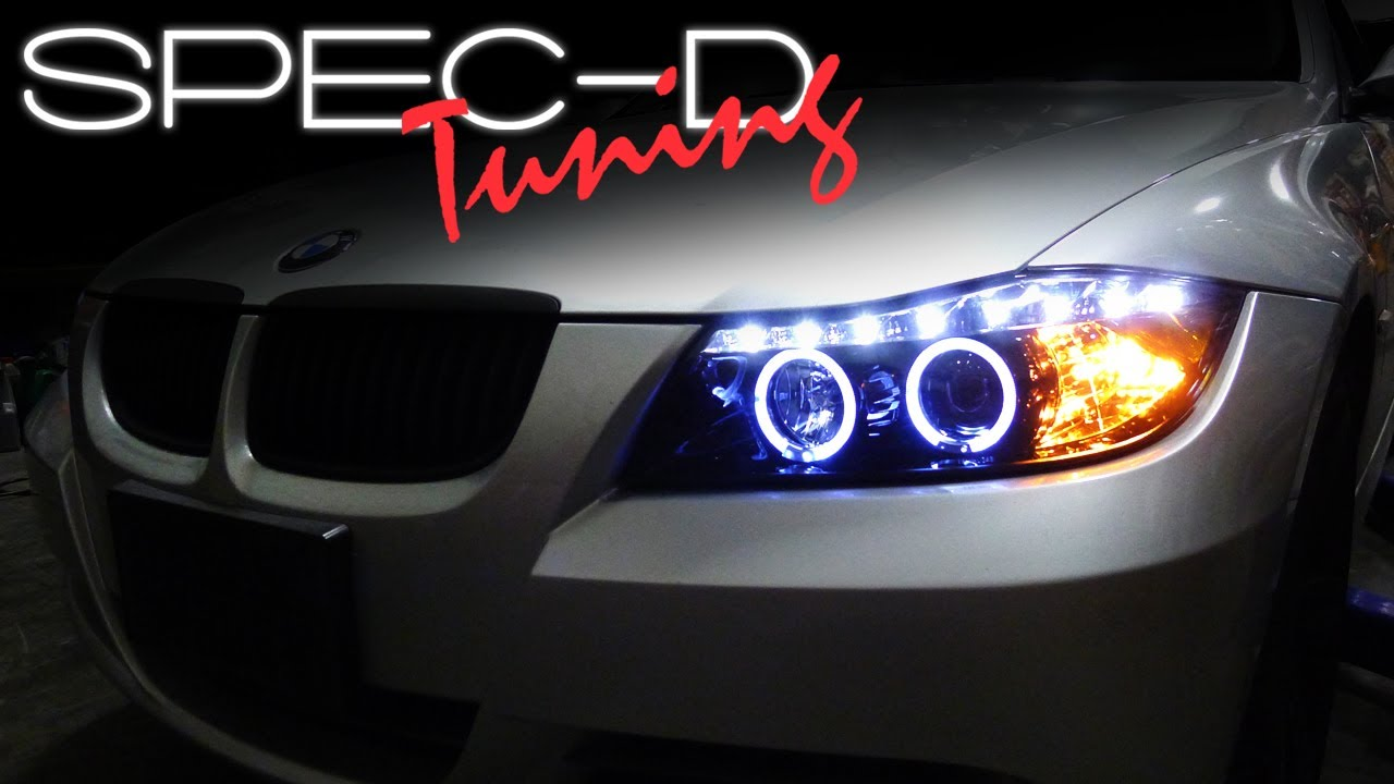 small resolution of specdtuning installation video 2006 2008 bmw e90 3 series 4 door projector headlights youtube