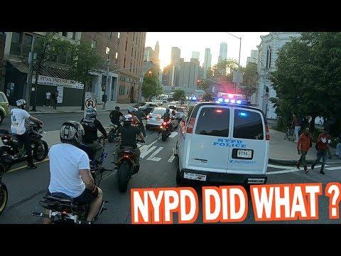 COPS CHASE MOTORCYCLES IN NEW YORK !   BRAAP VLOGS