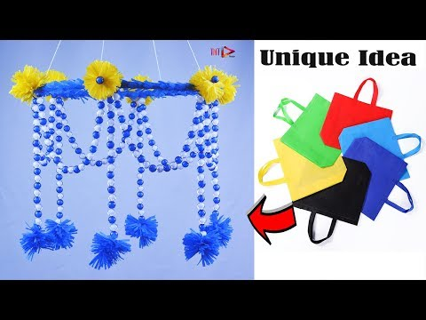 How To Make Chandelier at Home | DIY Beaded Jhumar | Shopping Bag Wall Hanging