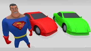 Learn Colors with amazing Car and superman dance - Colors for Children to Learn with Street Vehicles