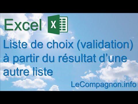 Exceptionnel Excel: Liste de choix (validation) à partir du résultat d'une  CE75