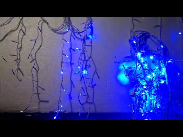 pisca pisca em cascata leds azul enfeites e decoração de natal