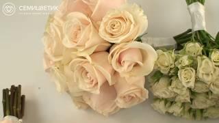 Свадебный букет невесты из белых роз