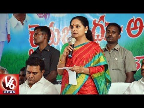 MP Kavitha Speech At Jagitial Public Meeting   Rythu Bandhu Awareness Program   V6 News