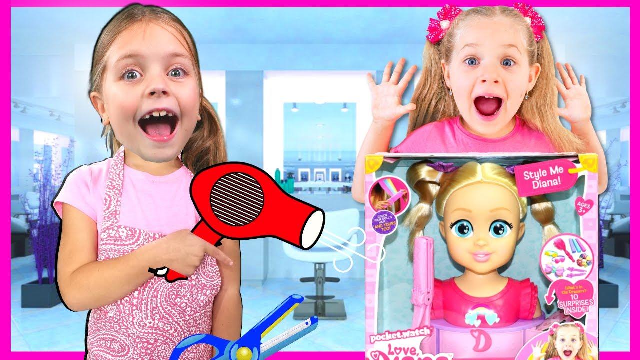 Kids Diana Show Mailed Kin Tin NEW Love Diana Style Me Diana Toy! Beauty Salon Makeover with Diana!